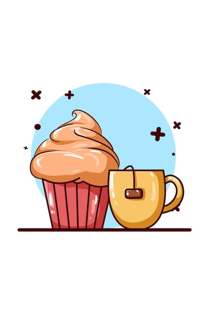 Tea and pancake icon illustration Premium Vector