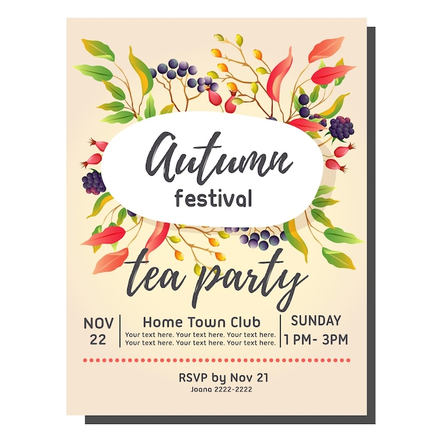 Tea party autumn invitation card with festival leaves vector tea party autumn invitation card with festival leaves premium vector stopboris Gallery