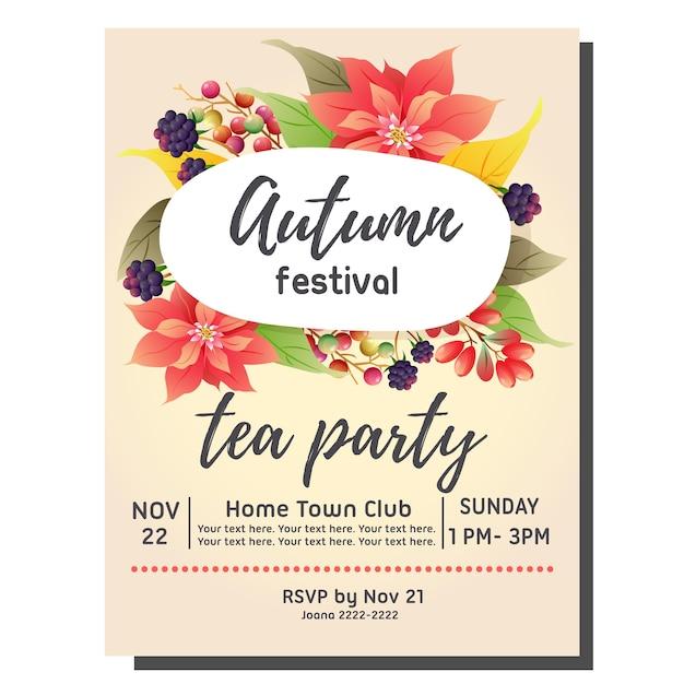 tea party autumn invitation card with poinsettia vector