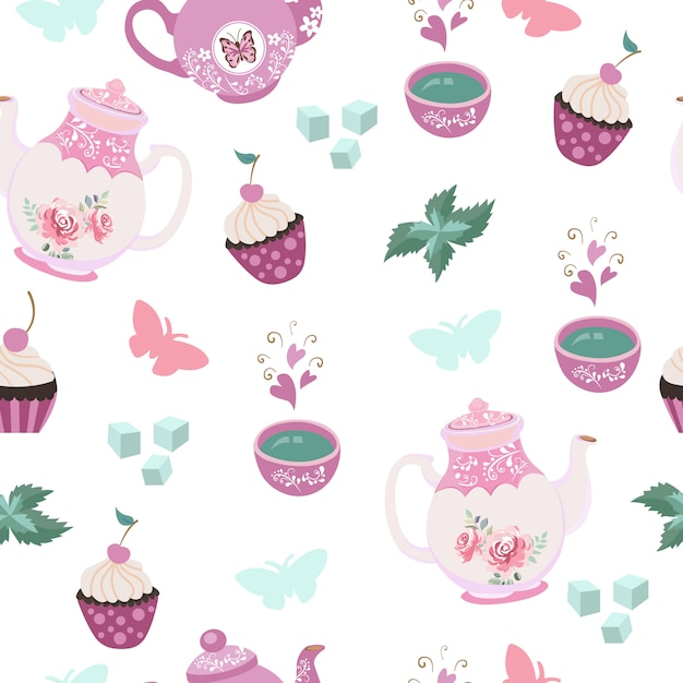 Tea party elements seamless pattern Premium Vector