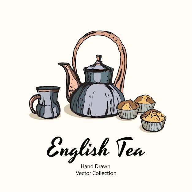 Tea party illustration Premium Vector