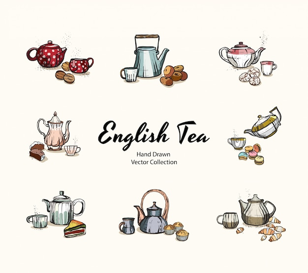 Tea party illustration Premium Vector