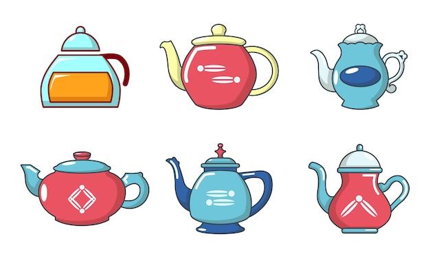 Tea pot icon set. cartoon set of tea pot vector icons set isolated Premium Vector