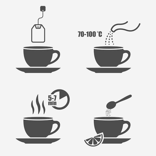 Инструкции по приготовлению чая изолированные элементы дизайна Premium векторы