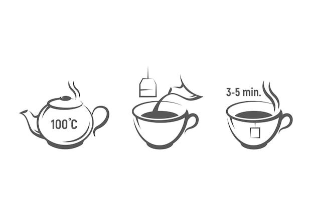 Инструкция по приготовлению чая. Premium векторы