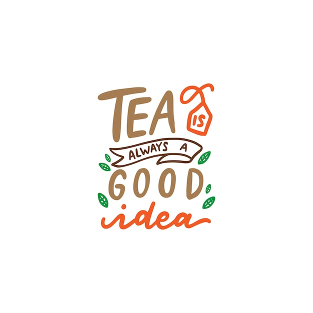 Tea quotes typography poster Vector | Premium Download