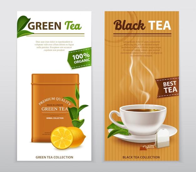 Set di banner pubblicitari realistici del tè Vettore gratuito