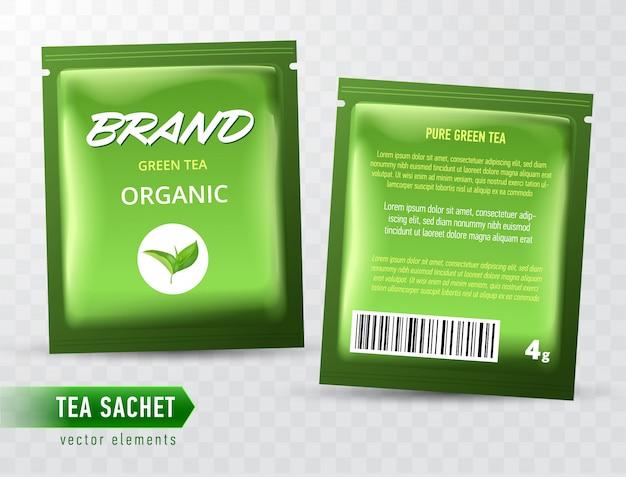 Tea sachet package  template  on transparent backgrpound. realistic tea pack bag. Premium Vector