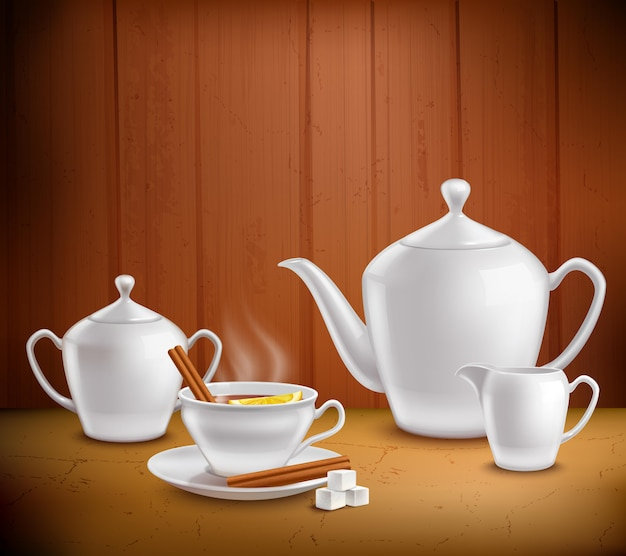 Tea set composition Free Vector