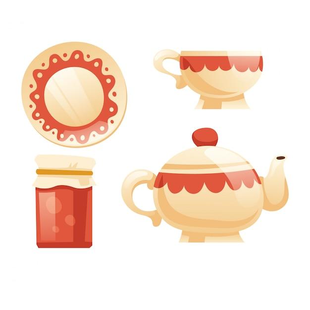 Чайный сервиз с чашкой, чайником, блюдцем и банкой с вареньем Бесплатные векторы