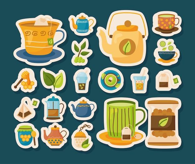 Чайные наклейки значок набор дизайн, время пить завтрак и напитки тема иллюстрации Premium векторы