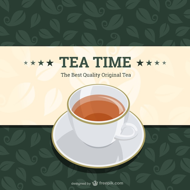Tea time background with tea leaves Free Vector