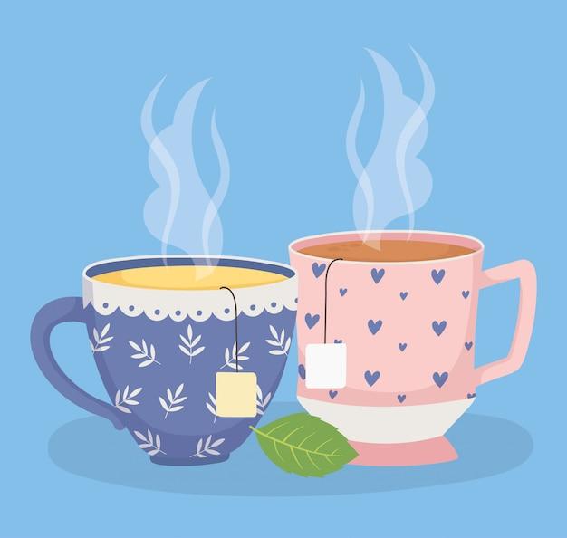 Время чая, чашки чая с пакетиками чая травяной лист свежий напиток Premium векторы