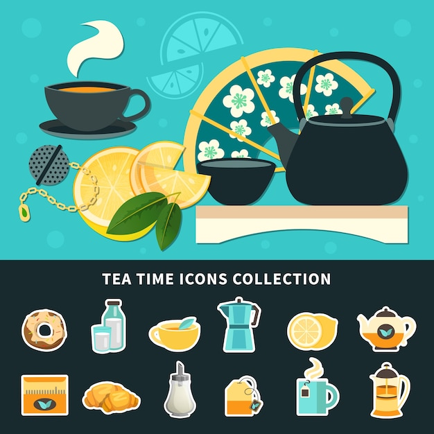 Tea time icons collection Free Vector