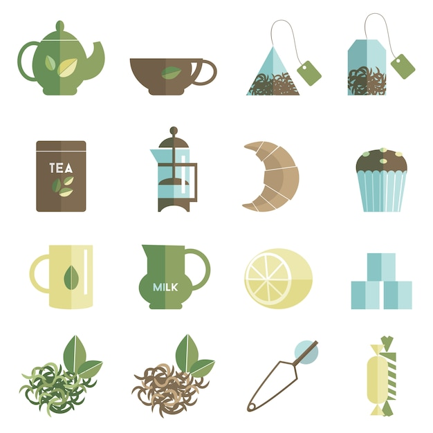 Tea time icons set flat Free Vector