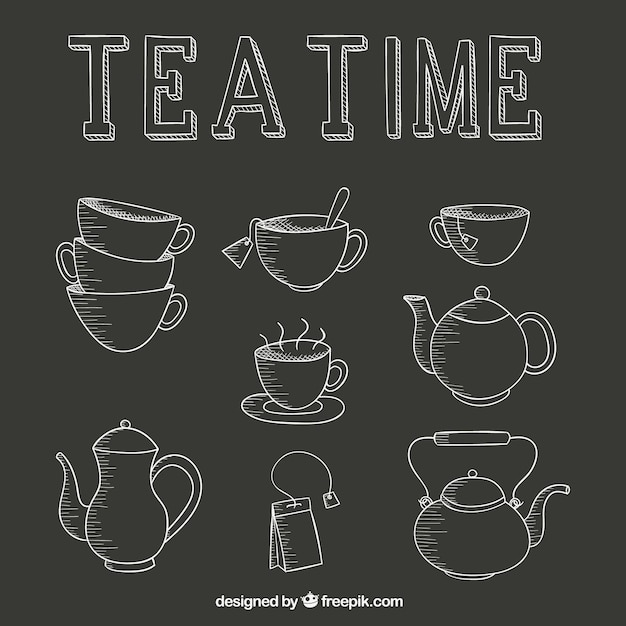 Tea time icons set Free Vector