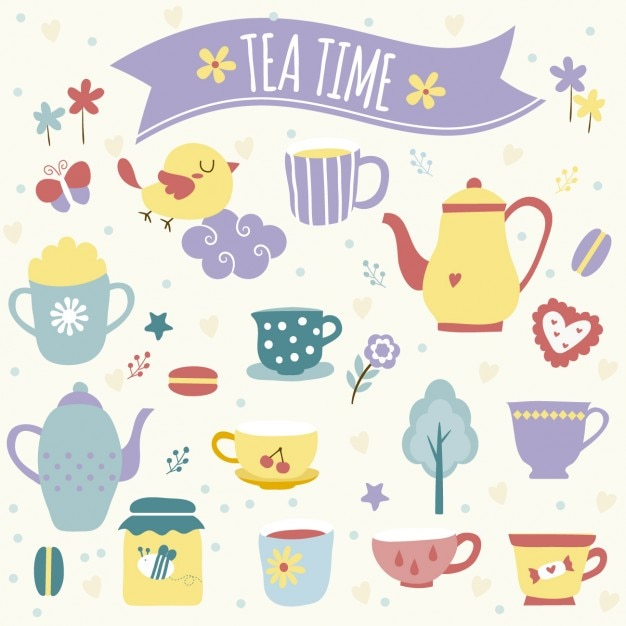 Tea time illustration Free Vector
