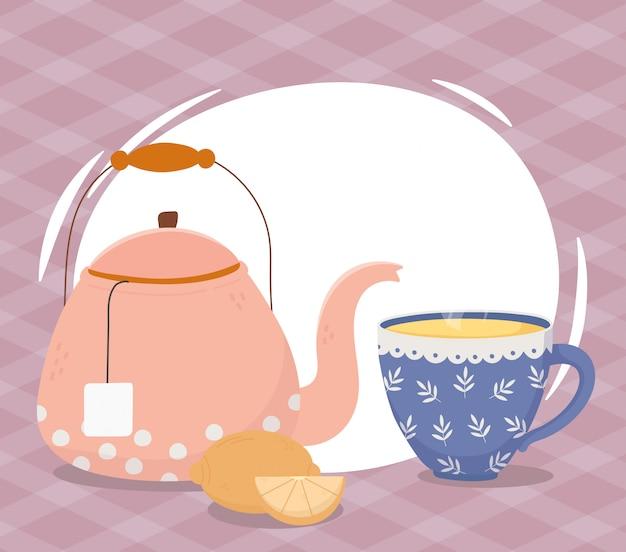 Время чая, чашка чайника и целая половина лимонного напитка Premium векторы