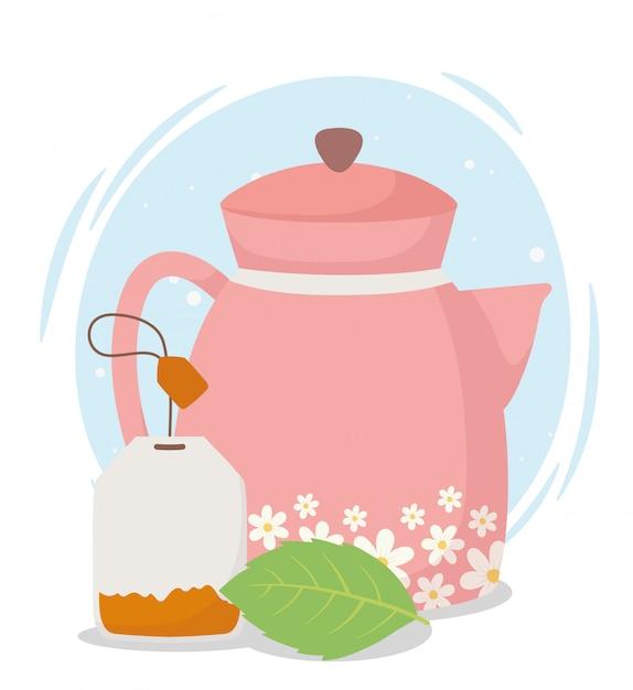 Время чая, чайник с цветами и пакетик чая Premium векторы