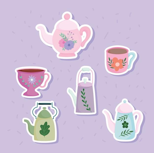 Чайники и чашки с цветочными листьями, напечатанные наклейки, кухонная керамическая посуда, иллюстрации шаржа с цветочным дизайном Premium векторы