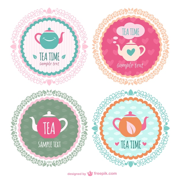 tea time sticker templates vector free download