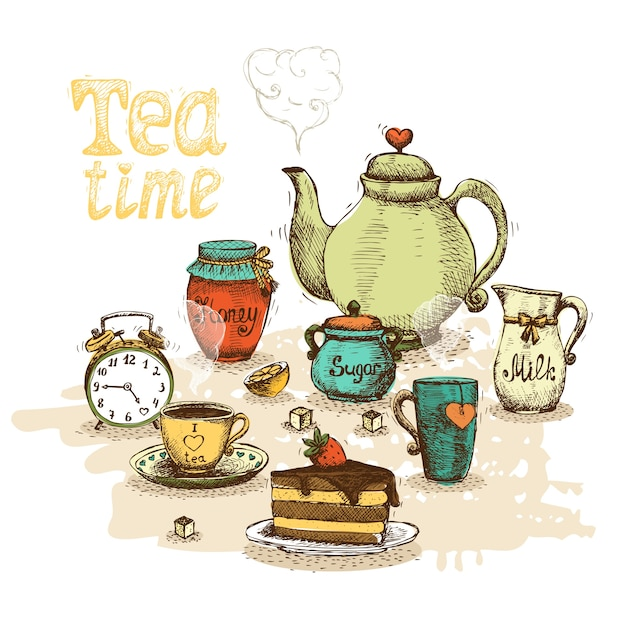 Tea time still life Free Vector