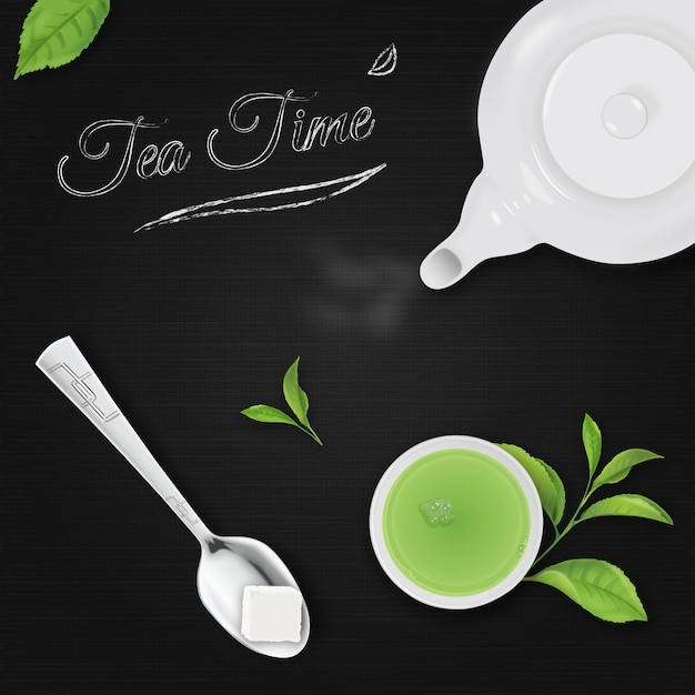 Tea time with black background Premium Vector
