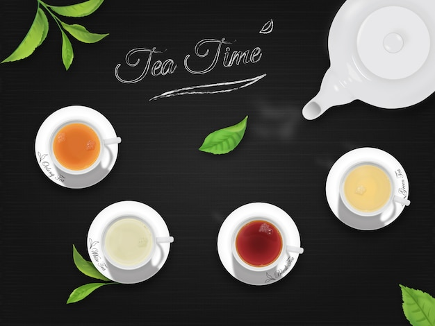 Tea time with black background Premium Vector
