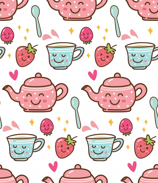 Tea time with strawberry in kawaii style background Premium Vector