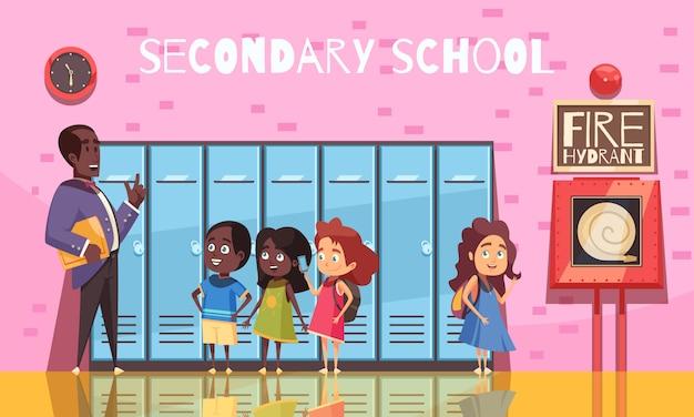Учитель и ученики средней школы во время разговора на фоне розовой стены с мультяшными шкафчиками Бесплатные векторы