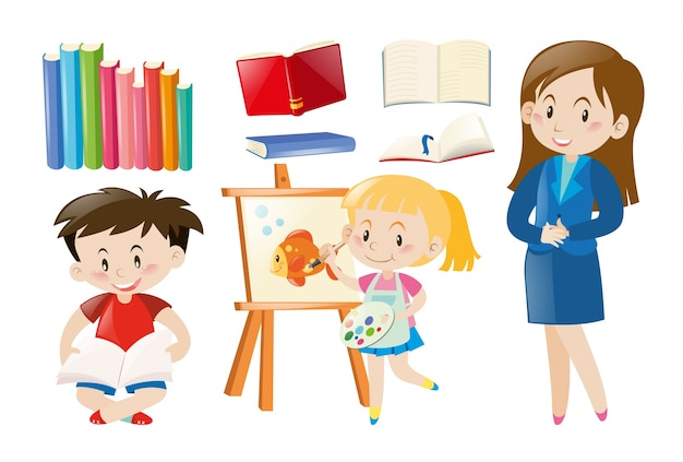 Teacher and students with school objects