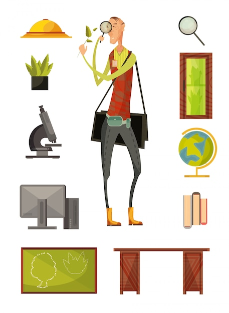 Teacher of biology retro style set with plants magnifier computer microscope desk and blackboard isolated vector illustration Free Vector