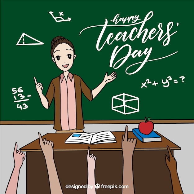 Teacher by the blackboard and pupils raising\ hands