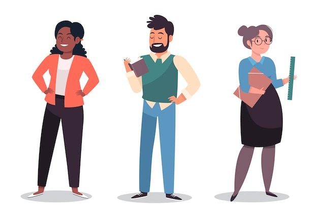 Teacher character collection Free Vector