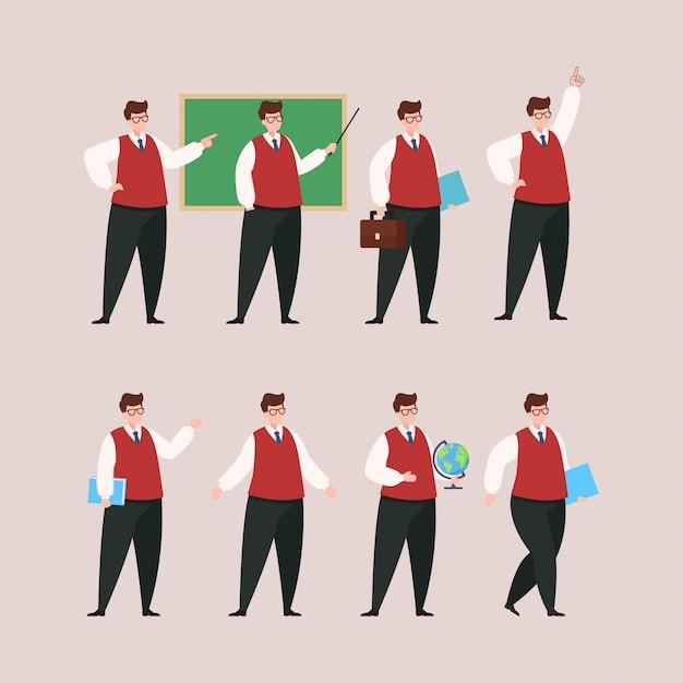 Teacher character set Premium Vector