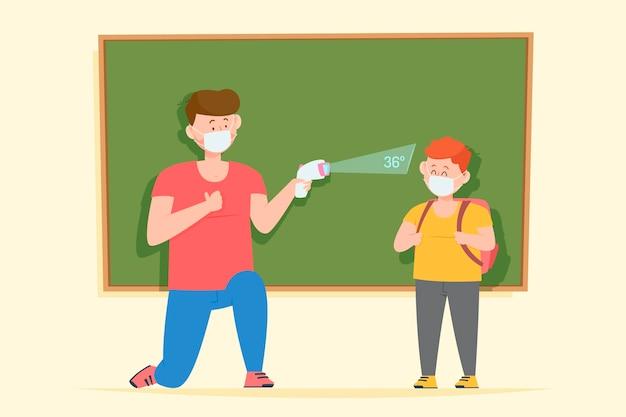 Учитель проверяет температуру детей Бесплатные векторы