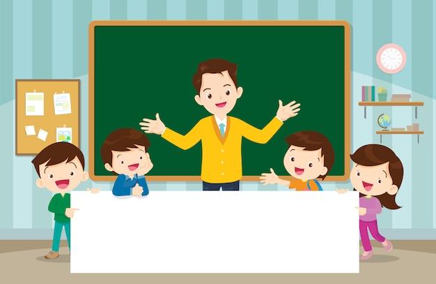 Teacher and children boyand girl with placard Premium Vector
