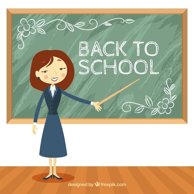 Teacher in class with blackboard behind Free Vector