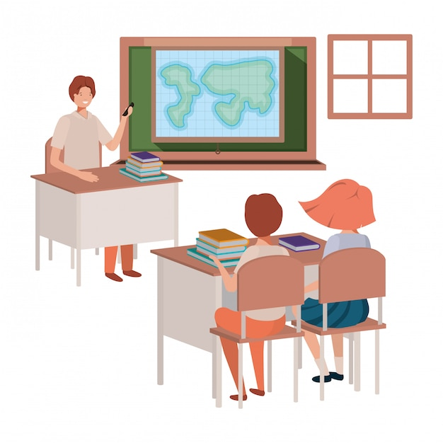 Teacher in classroom with students avatar character Premium Vector
