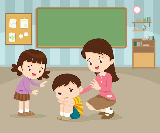 Teacher comforting upset elementary sad child boy Premium Vector