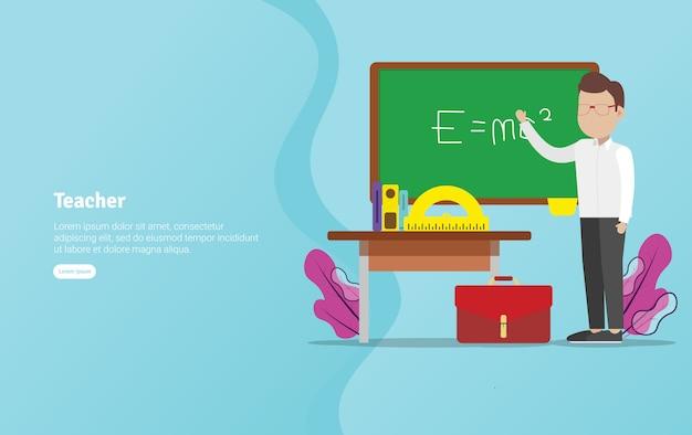 Teacher concept educational illustration banner Premium Vector