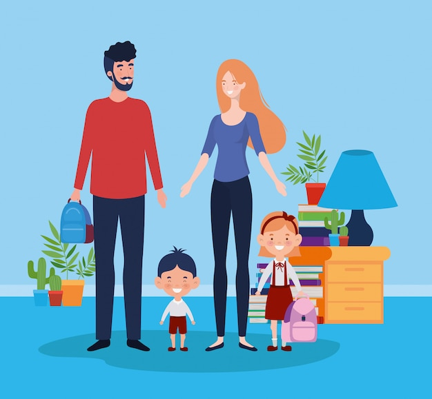 Teacher couple with little students kids in room Free Vector