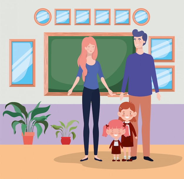 Teacher couple with little students kids in the school corridor Free Vector