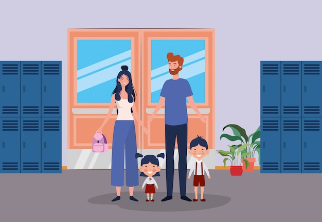 Teacher couple with little students kids in the school corridor Free Vector