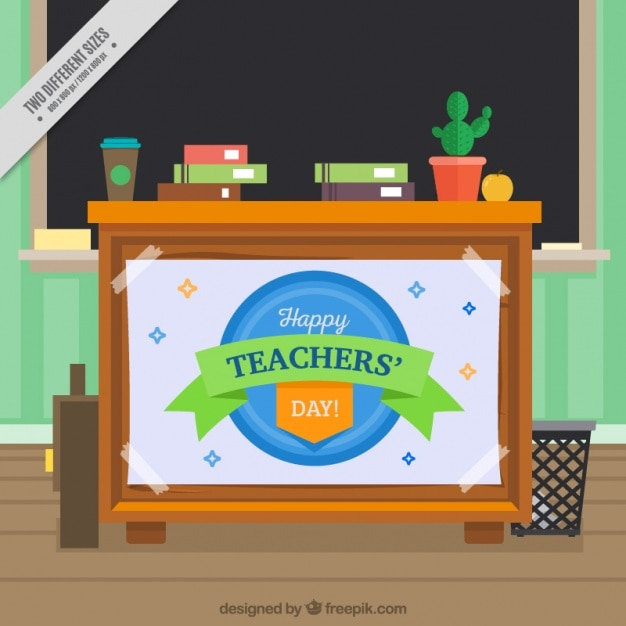 Teacher desk background with blackboard