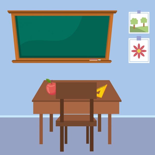 Teacher desk of school Free Vector