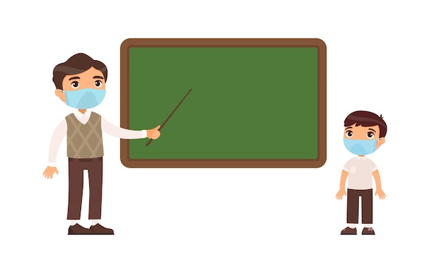 Teacher and elementary school pupil with protective masks on their faces flat  illustration. teacher male and school boy standing at blackboard. Free Vector