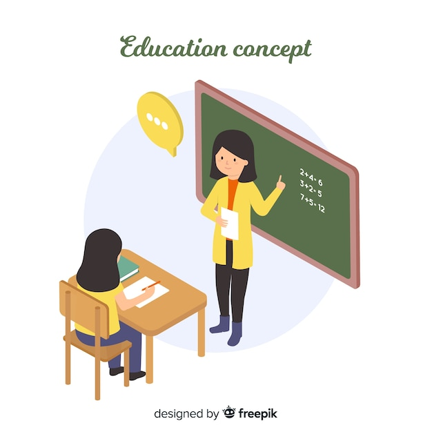 Teacher explaining isometric background Free Vector
