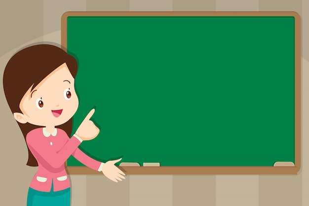 Teacher in front of chalkboard with copy space for your text Premium Vector