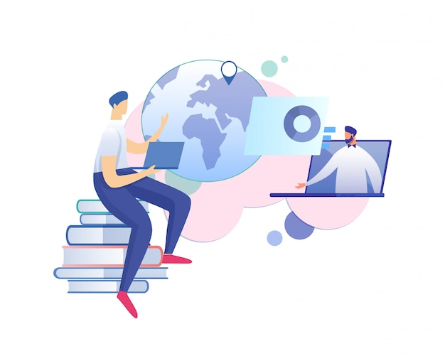 Teacher give lecture or online seminar in internet Premium Vector